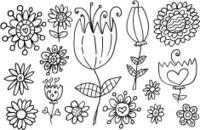 Doodle Flower Springtime Vector Set