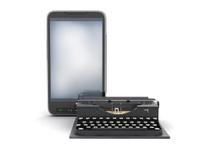 Retro typewriter and modern cell phone