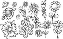 Doodle Springtime Flower Set