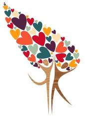 Diversity couple love heart