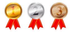 Golden, silver  bronze awards. Vector illustration.