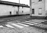 Street Corner With Zebra Crossing, Black And White