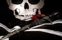 Medieval Sword on pirate flag