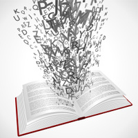 Book with 3d letters