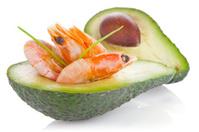 fresh avocado with shrimp