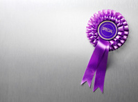 Purple Ribbon Rosette with Copy Space