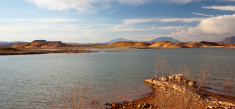 Desert Lake and Hills Landscape