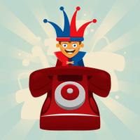 Phone prank with jester