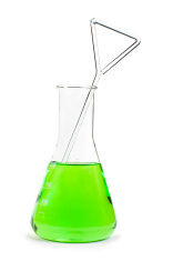 Laboratory beaker filled with liquid substances