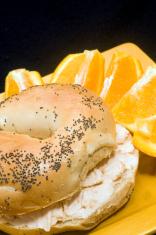 bagel  smoked salmon cream cheese spread  fresh navel orange