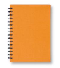 Orange notebook.
