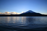 Mount Fuji and Lake Yamanaka before the daybreak.