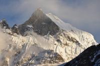 White mountain in Himalaya of Nepal