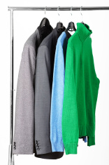 Men's jackets and sweaters on rack