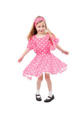 dancing little girl in pink dress