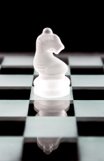 Knight chess piece over black