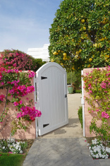 Garden Gate And Pretty Floral Residential Entrance