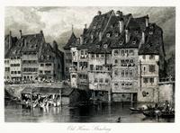 Old houses at Strasbourg, France(antique steel engraving)