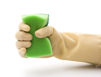 grabing a double side green cleaning sponge