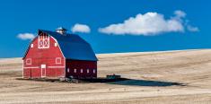 Red Barn Blue Sky Wheet fields
