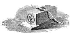 19th century engraving of a telegraph machine