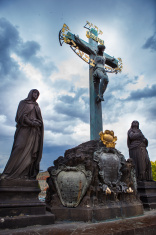 Statue on Charles Bridge in Prague, Czech Republic