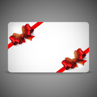card with red bows and ribbons