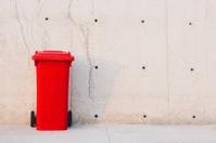 Red trash bin