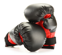 Pair of boxing gloves isolated on white