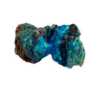 Blue mineral on stone and white background