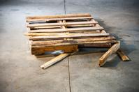 Broken pallet on a warehouse floor