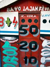 Haiti, Artibonite Province, Gonaives, lottery kiosk.