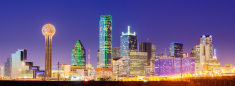 Panoramic View of the Dallas City Skyline at Night USA