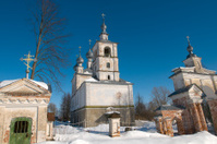 Rustic old church in winter