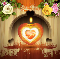 Red heart with candle