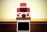 Vintage polaroid camera and photo