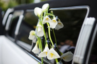 Black and white wedding limo