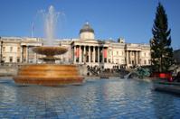 Trafalgar Square in London at Christmas