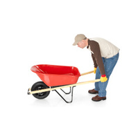 Man Moving a Wheelbarrow