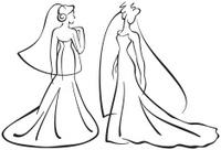 vector brides silhouettes