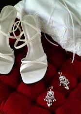Wedding Accessories on plush chair