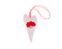 Rag heart with wings on a ribbon