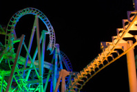 Modern Rollercoaster at night