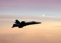 Jetfighter at sunrise