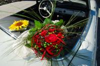 Wedding bouquet & classic car