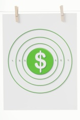 Dollar Sign on a Paper Target