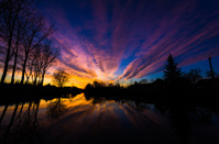 Sunset over the river Ljubljanica