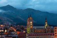 Quito Basilica at Night