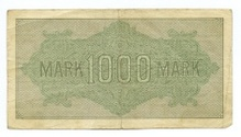 The back side of old banknote