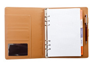 Personal agenda and pen closeup